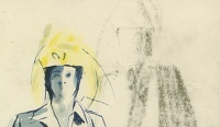Artist Evelyn Dunbar: Woman with yellow hat