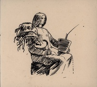 Artist Evelyn Dunbar: Sketch of a seated woman carrying pot plants
