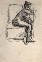 Artist Albert de Belleroche: Full length profile view of a nude model seated on an upholstered studio prop, facing right