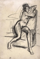 Artist Albert de Belleroche: Study of a seated nude, three quarter view, with arms resting on the back of her chair