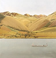 Artist Winifred Knights: Edge of Abruzzi....boat with three people on a lake, 1924-30