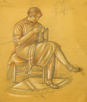 The Artist's Mother, sewing, circa 1925