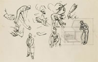 Sheet of studies of a gardener...