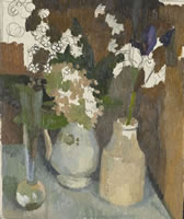 Artist Charles Mahoney: Still life in an orange box with Sweet Williams and Iris