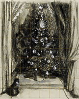Christmas tree with cat, circa 1952