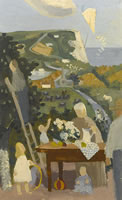 Artist Kenneth Rowntree: A Family in their Garden near the White Cliffs, 1950s