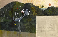 Artist Kenneth Rowntree: Landscape with a Garden Ornament, 1948