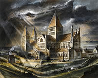 Artist Alan Sorrell: Old Sarum Cathedral Wiltshire