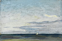 Seascape with White sailing Boat