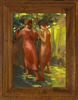 Two women in a sunlit glade, circa 1930