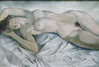 Nude lying on a white sheet