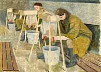 Artist Evelyn Dunbar: Milking Practice with Artificial Udders, 1940
