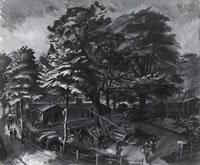 Artist Alan Sorrell: RAF Camp, signed and dated 1940,