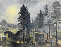 Artist Alan Sorrell: RAF Camp in the Woods