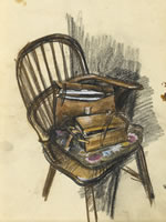 Artist Alan Sorrell: The Artists paint-box and sketching bag on a Windsor chair